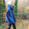 Big Poncho Blau-Grün-Flieder
